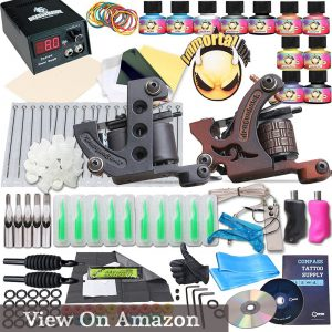 Complete Tattoo Kit 2 Machine Gun 10 Color Inks Power Supply