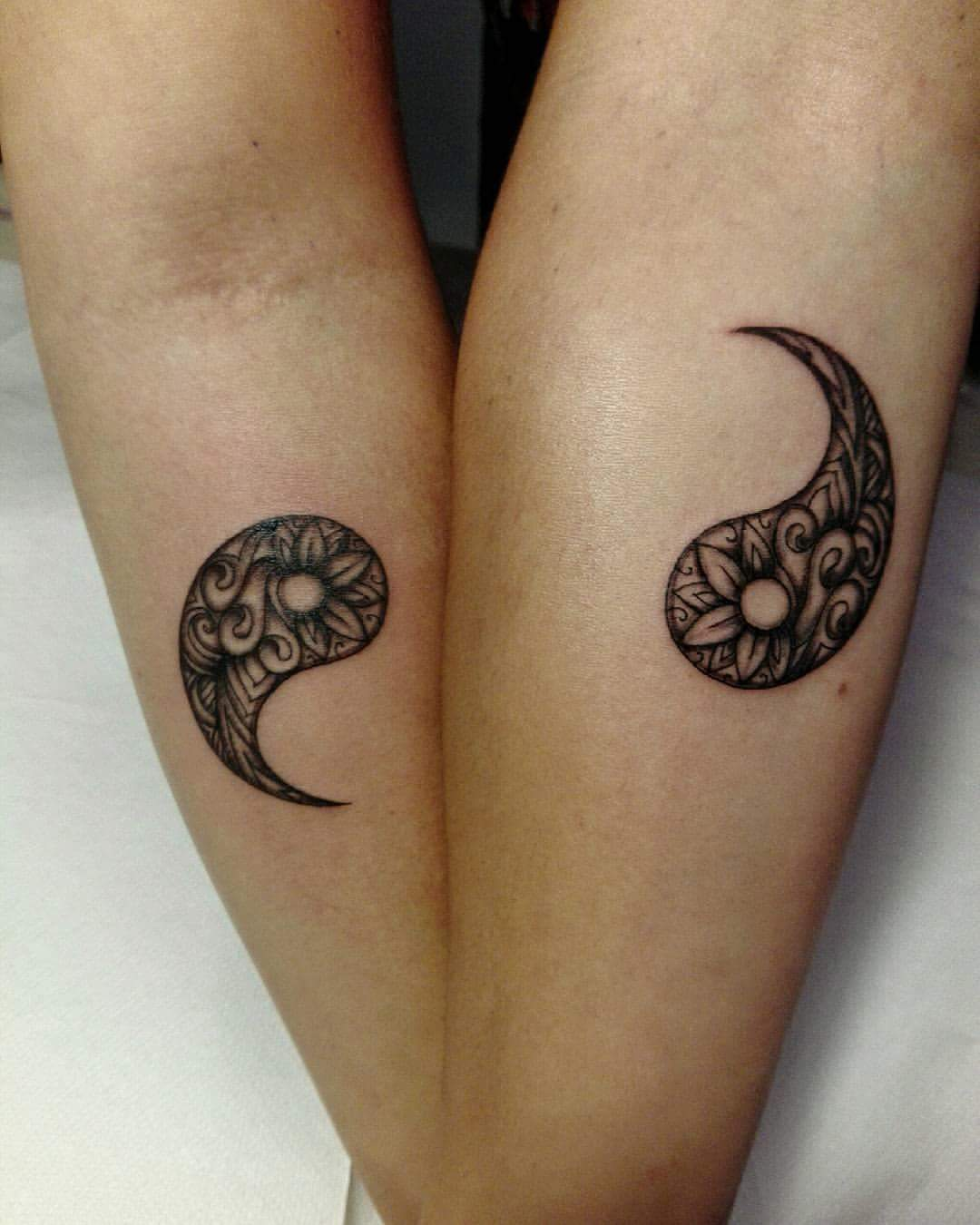 6216497771ba1 The Yin Yang tattoo will show how you complement each other. Yin stands for  the moon, and its calmness and energy. Yan stands for sun and its life and  power ...